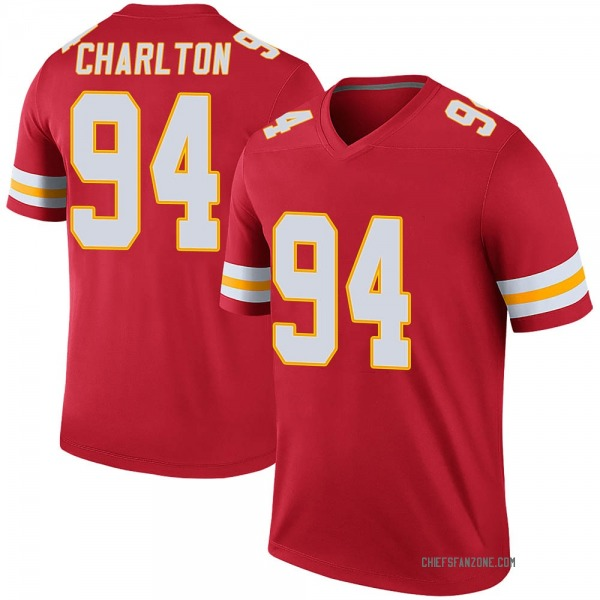 Men's Taco Charlton Kansas City Chiefs Legend Red Color Rush Jersey